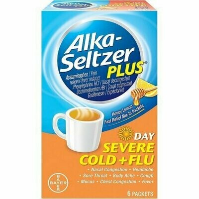 Alka-Seltzer Plus Severe Cold and Flu Day Packets, Honey Lemon 6 each
