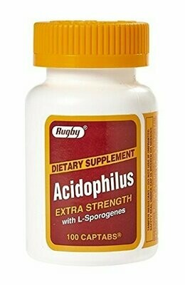 Rugby�� Acidophilus Extra Strength with L-Sporogenes (100 Captabs)