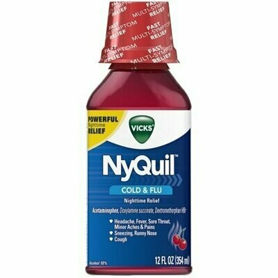 Vicks NyQuil Cold & Flu Nighttime Relief Liquid, Cherry 12 oz