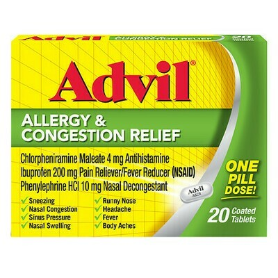 Advil Allergy & Congestion Relief Coated Tablets, 20 ct.