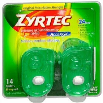 Zyrtec Allergy 10 mg Tablets Blister Pack 14 Tablets