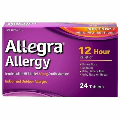 Allegra 12 Hour Allergy, Non-Drowsy 60mg Tablets, 24 ct.