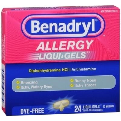 Benadryl Dye-Free Allergy Liquigel Capsules, 24 ct.