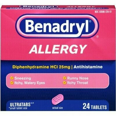 Benadryl Allergy Ultratab Tablets, 24 ct.