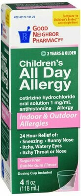 GNP ALLERGY DAY BUBBLE GUM 5MG SYRUP 4 OZ