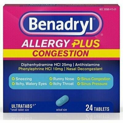 Benadryl Allergy Plus Congestion Ultra Tablets 24 each