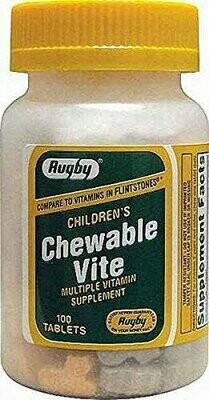 RUGBY CHEWABLE VITE TAB ASCORBIC ACID-60 MG Assorted 100 TABLETS