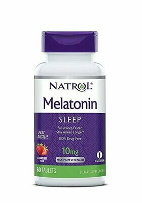 Natrol Melatonin Fast Dissolve Tablets, Strawberry, 10mg, 60 Count