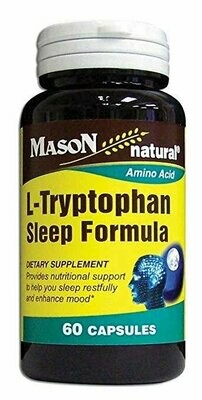Mason Natural L-Tryptophan Sleep Formula Capsules, 60-Count Bottle