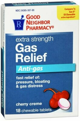 GNP GAS RELIEF CHERRY CHEWABLES 125 MG 18 TABS