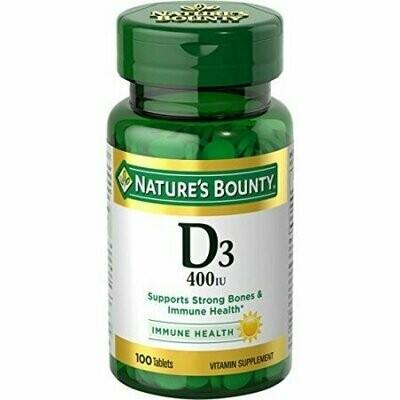 Nature's Bounty Vitamin D3 400 IU, 100 Tablets Each