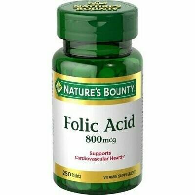 Nature's Bounty Folic Acid Maximum Strength 800mcg Vitamin Supplement Tablets - 250 CT