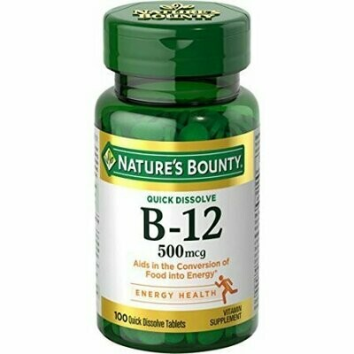 Natures Bounty B-12 500 mcg, 100 Quick Dissolve Tablets Each