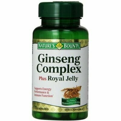 Nature's Bounty Ginseng Complex Plus Royal Jelly Capsules 75 each