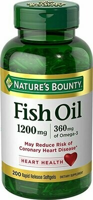 Nature's Bounty Fish Oil, 1200 mg Omega-3, 200 Rapid Release Softgels, Dietary Supplement for Supporting Cardiovascular Health