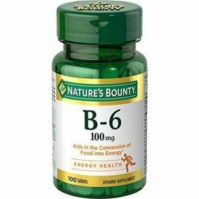 Nature's Bounty Vitamin B-6 100 mg Tablets 100 Tablets Each