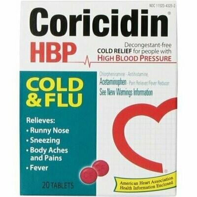 Coricidin HBP Cold & Flu Tablets, 20 each