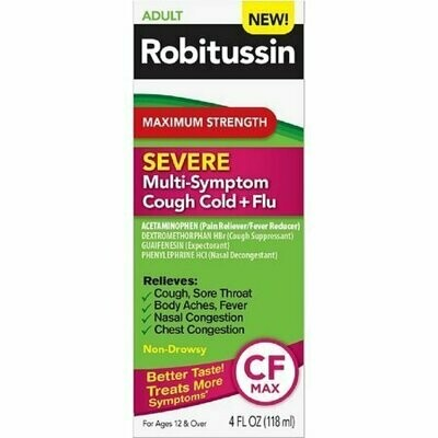Robitussin Maximum Strength Severe Multi-Symptom Cough Cold+Flu Medicine 4 oz
