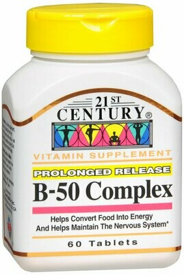 21ST CENTURY VITAMIN B-50 COMPLEX TABLETS 60CT