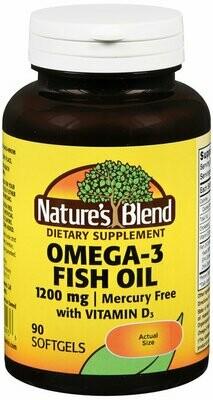 Nature's Blend Omega-3 Fish Oil 1200 mg and Vitamin D3 1000 IU 90 Softgels