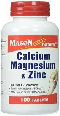 Mason Vitamins Calcium Magnesium & Zinc Tablets, 100 Count