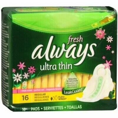 Always Fresh Ultra Thin Pads Regular Flexi-Wings Clean Fresh Scent 16 Each