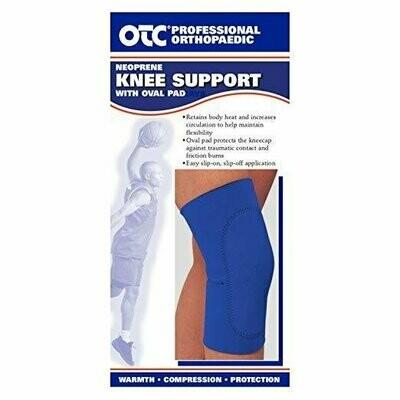 OTC Knee Support Oval Pad Slip-On Sleeve Neoprene, Blue, Medium