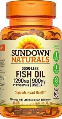 Sundown Naturals Fish Oil Omega 3-1290 mg, 72 Odorless Coated Mini Softgels