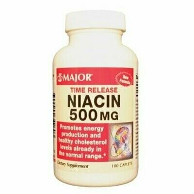 MAJOR NIACIN TR 500MG CAPLET NIACIN-500 MG White 100 CAPLETS