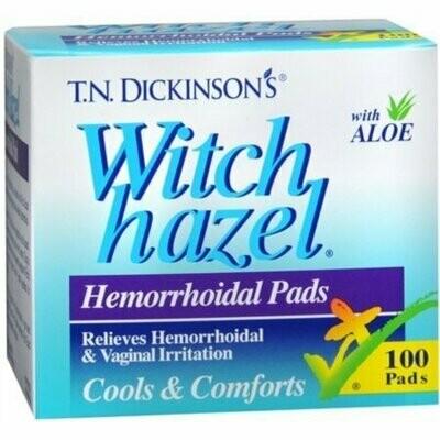 Dickinson's Witch Hazel Hemorrhoidal Pads 100 Each