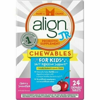Align Jr. Probiotic Supplement Chewables Tablets For Kids, Cherry Smoothie 24 Pack