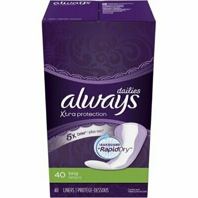 Always Dailies Xtra Protection Long Liners 40 each