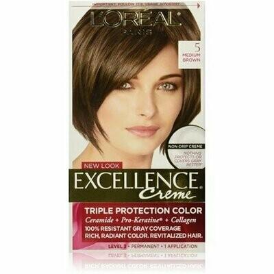 L'Oreal Paris Excellence Creme Triple Protection Hair Color, 5 Natural Medium Brown 1 each