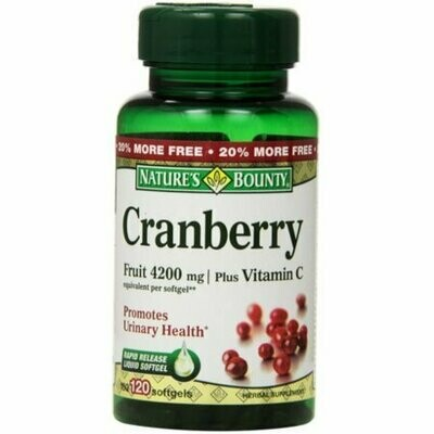 Nature's Bounty Cranberry Fruit 4200 mg, Plus Vitamin C Softgels, 120 each