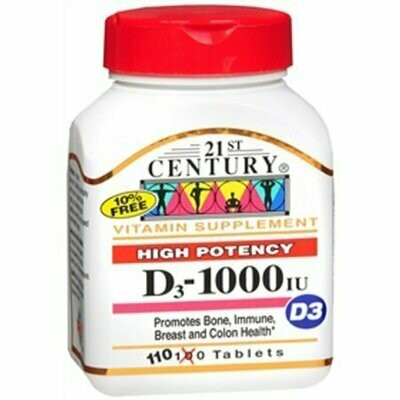21st Century D3-1000 IU Tablets High Potency- 110 Tablets