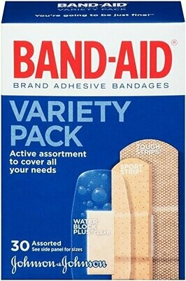 Band-Aid Adhesive Bandages, Variety Pack Assorted, 30 ct