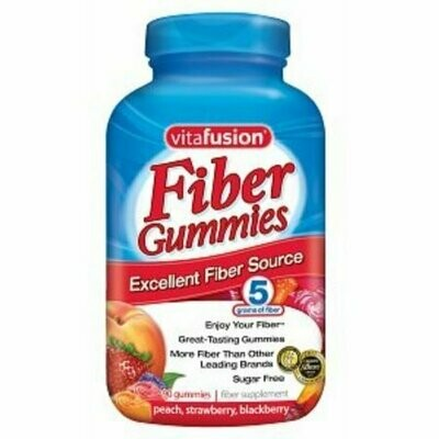 Vitafusion Fiber Gummies Fiber Supplement Peach, Strawberry and Blackberry Flavors 90 Each