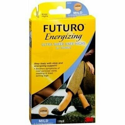 FUTURO Energizing Ultra Sheer Knee Highs Mild Large Nude 1 Pair