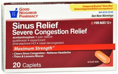 GNP MUCUS RELIEF SEVERE CONGESTION 325MG 20CT