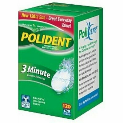Polident 3 Minute, Antibacterial Denture Cleanser 120 each
