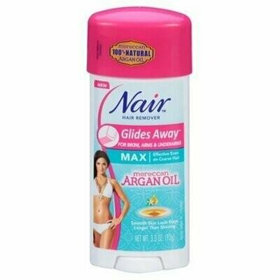 Nair Hair Remover Glides Away Max, Moroccan Argan Oil, for Bikini, Arms & Underarms 3.3 oz