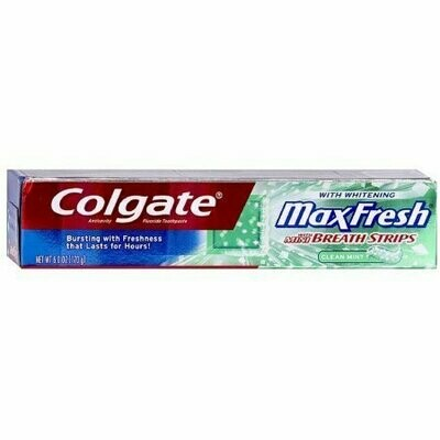 Colgate Max Fresh With Mini Breath Strips Whitening Toothpaste, Clean Mint 6 oz