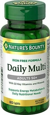 Natures Bounty Daily Multi, Adults 50+, 80 Caplets