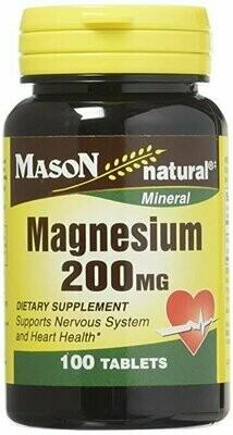Mason Vitamins Magnesium 200 mg Tablets,100 Count