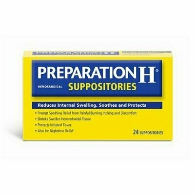 Preparation H Hemorrhoidal Prompt Soothing Relief Suppositories, 24 Each