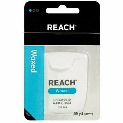 REACH Dental Floss, Waxed, Unflavored 55 yds