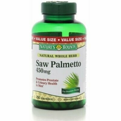 Nature's Bounty Saw Palmetto 450 mg Capsules 250 each