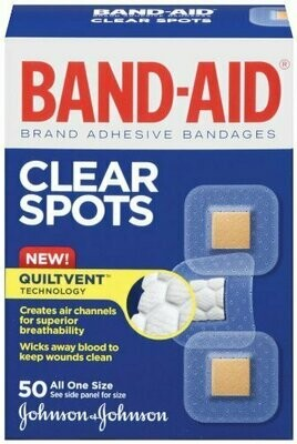 Band-Aid Brand Adhesive Bandages, Clear Spots, 50 Count