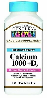 21st Century Calcium Plus D Tablets, 1000 mg, 90 Count