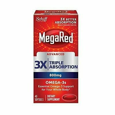 MegaRed Advanced Triple Absorption 800mg, 40 Softgels - Omega-3 Fish Oil Supplement